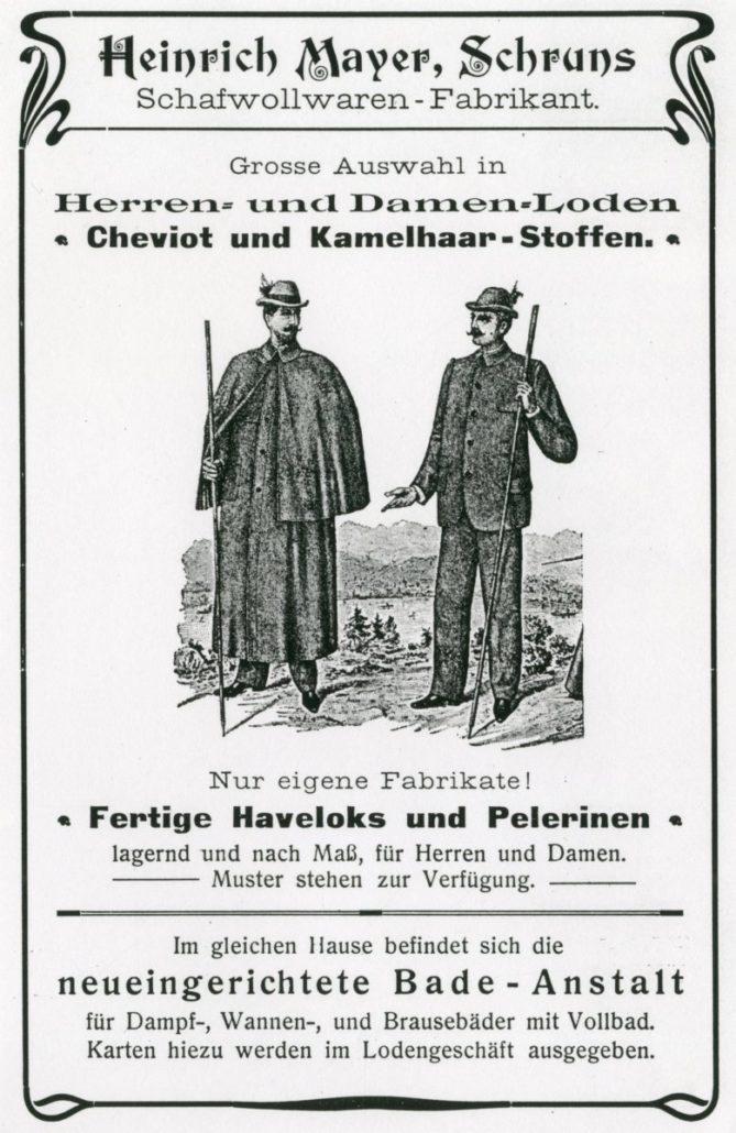 Bewerbung von Lodenbekleidung in einem Fremdenverkehrsprospekt von 1906